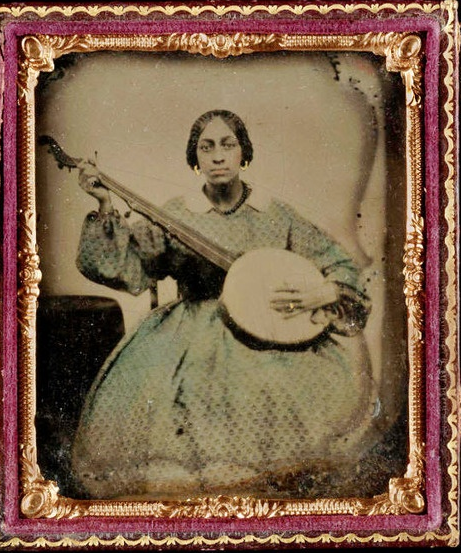Young Lady with Banjo, ambrotype, c. 1865. Randolph Linsly Simpson African American Collection, Yale Beinecke Rare Book and Manuscript Library