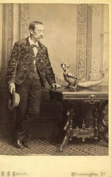 """'Man Posing with a Feejee Mermaid, 1875"""""""