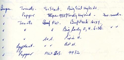 handwritten list of vegetables