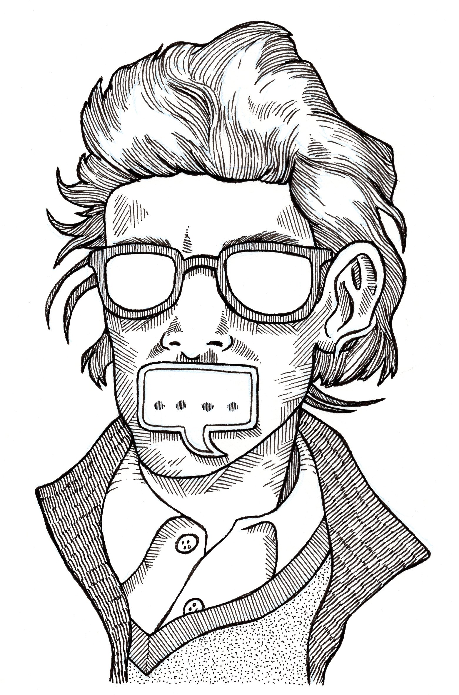 b & w image of man with glasses but no eyes, ellipses where lips should be
